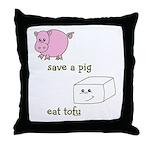 Save a Pig Eat Tofu Throw Pillow