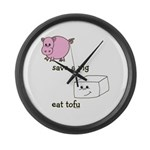 Save a Pig Eat Tofu Large Wall Clock