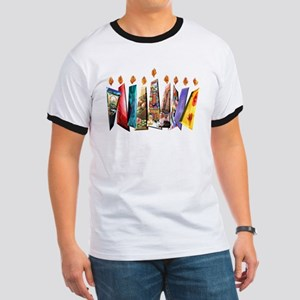 Fabric Chanukah Menorah Ringer T