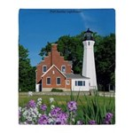 Port Sanilac Lighthouse Throw Blanket