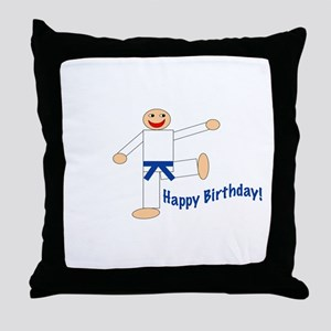 Martial Arts Dk Blue Belt Birthday Throw Pillow