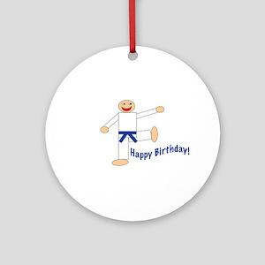 Martial Arts Dk Blue Belt Birthday Ornament Round