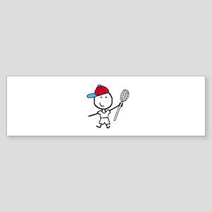 Boy & Lacrosse Bumper Sticker