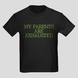 Exhausted Parents - Kids Dark T-Shirt