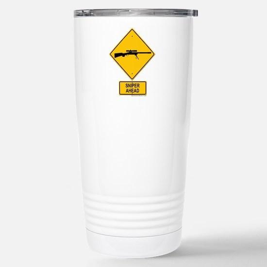 Sniper Warning - Rifle Stainless Steel Travel Mug
