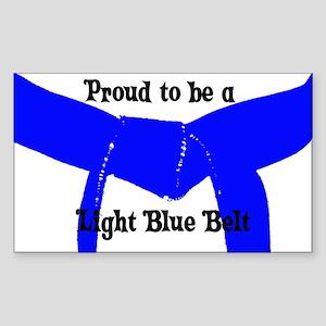 Proud to be Lt Blue Belt Rectangle Sticker