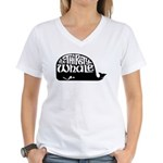 Women's V-Neck T-Shirt w/ Black Whale