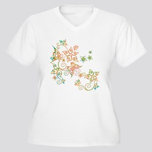 Flowers & Butterflies Women's Plus Size V-Neck T-S