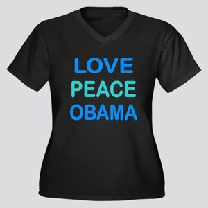 LOVE,PEACE, OBAMA: Women's Plus Size V-Neck Dark T