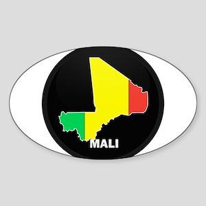 Flag Map of mali Oval Sticker