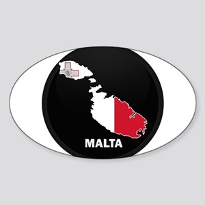 Flag Map of Malta Oval Sticker