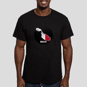 Flag Map of Malta Men's Fitted T-Shirt (dark)