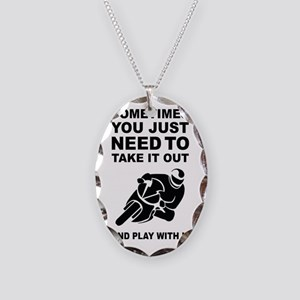 Take It Out And Play With It Necklace Oval Charm