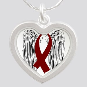 Winged Awareness Ribbon (Burgundy) Necklaces