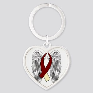 Winged Awareness Ribbon (Burgundy & Cream) Keychai