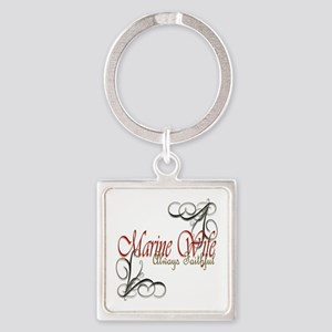 Swirl Marine Wife Square Keychain Keychains