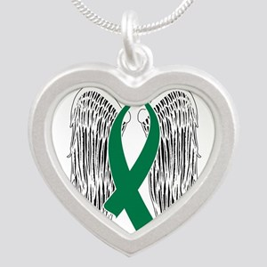 Winged Awareness Ribbon (Green) Necklaces