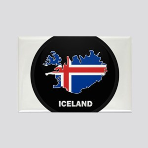 Flag Map of Iceland Rectangle Magnet