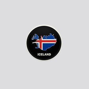 Flag Map of Iceland Mini Button