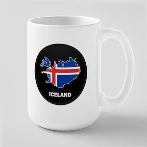 Flag Map of Iceland Large Mug