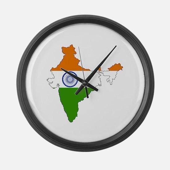 India Flag Map Large Wall Clock