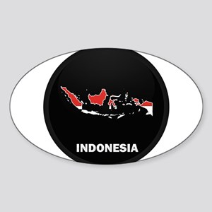 Flag Map of Indonesia Oval Sticker