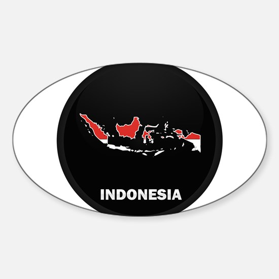 Flag Map of Indonesia Oval Decal