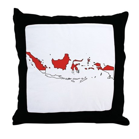 Indonesia Flag Map Throw Pillow