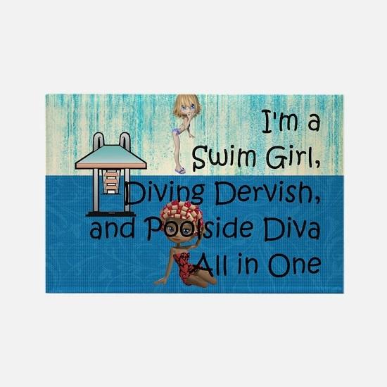 Swim Diva Rectangle Magnet