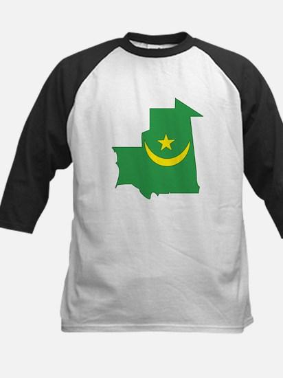 Mauritania Flag Map Kids Baseball Jersey