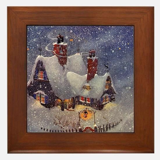 Vintage Christmas North Pole Framed Tile