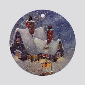 Vintage Christmas North Pole Ornament (Round)