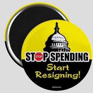 """Stop Spending Start Resigning 2.25"""" Magnet (10 pac"""
