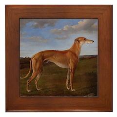 Vintage Greyhound Painting Framed Tile
