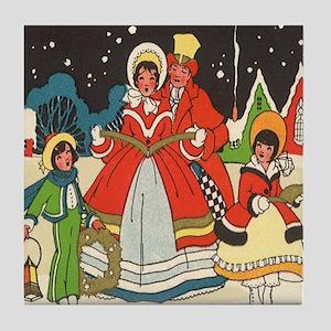 Vintage Christmas Carolers Singing Tile Coaster