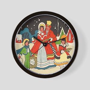 Vintage Christmas Carolers Singing Wall Clock