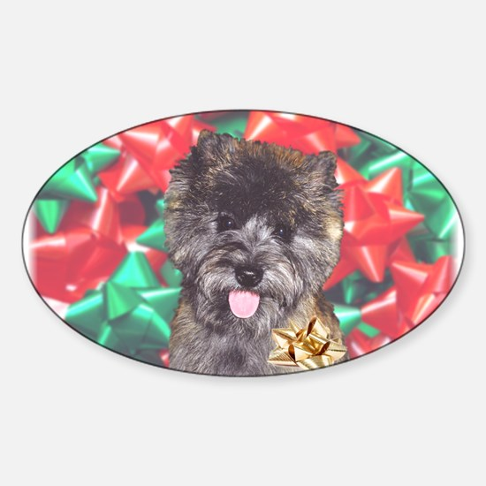 Christmas Cairn 'n Bows Oval Decal