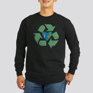 Recycle Earth Heart Long Sleeve Dark T-Shirt