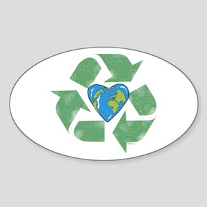 Recycle Earth Heart Oval Sticker
