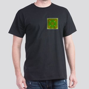 Brown & Green Megalith Design Dark T-Shirt