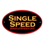 Single speed cycles Oval Sticker