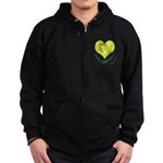 Daffodils in Heart, Mother's Day Zip Hoodie (dark)