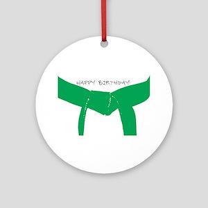 Martial Arts Green Belt Birthday Ornament (Round)
