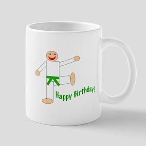Green Belt Kicking Guy Birthday Mug