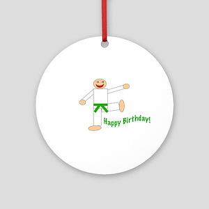 Green Belt Kicking Guy Birthday Ornament (Round)