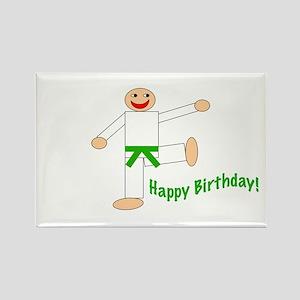 Green Belt Kicking Guy Birthday Rectangle Magnet