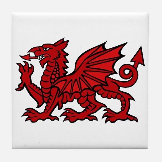 Red Welsh Dragon  Tile Coaster