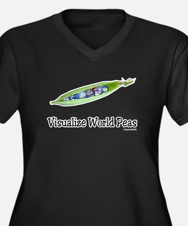 World Peas 2 Women's Plus Size V-Neck Dark T-Shirt