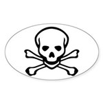 Skull and Crossbones Oval Sticker (50 pk)