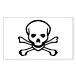 Skull and Crossbones Rectangle Sticker 50 pk)